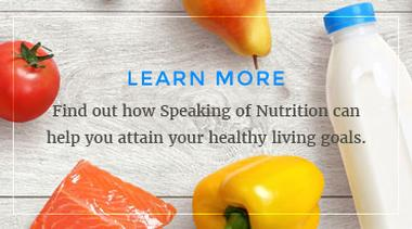 Graphic link to the About Us page for Speaking of Nutrition